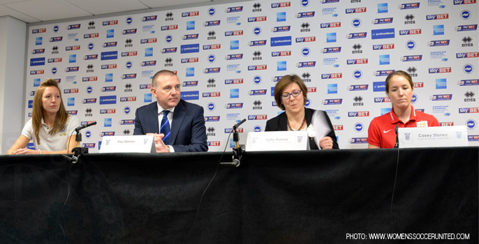 Siobham Chamberlain, Paul Barber, Casey Stoney in press conference ahead of FIFA Women's World Cup qualifier
