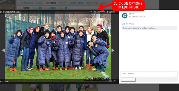 Step 12A upload photo to Women's Soccer United