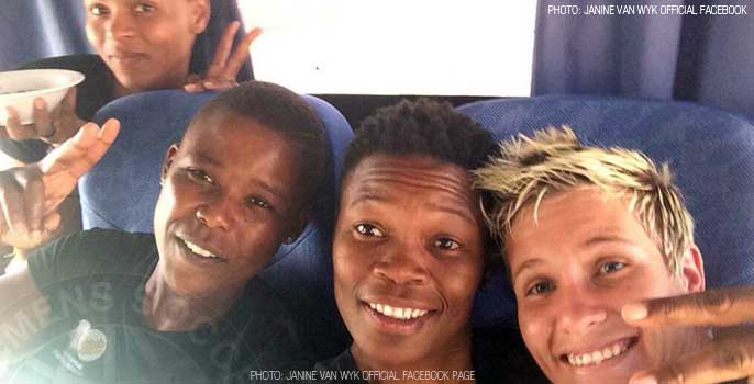 Amanda 'toki' Dlamini, Portia Modise, Thoko Mndaweni and Janine Van Wyk, South Africa Women's football team