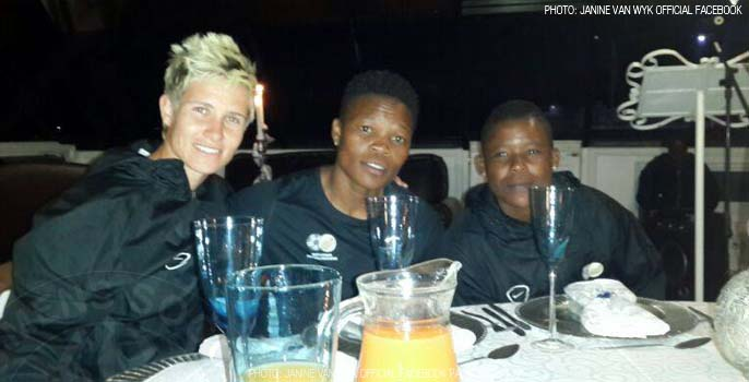 Banyana Banyana team on a boat cruise at the Vaal river