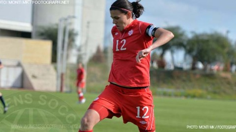 Christine Sinclair scores 158th goal to tie her at second with Mia Hamm on the all-time goal scoring list