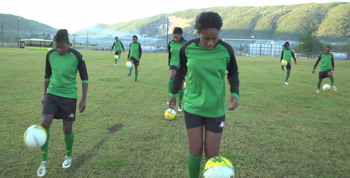 Jamaica Women's National soccer team training
