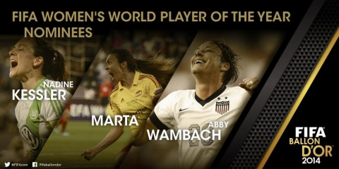 Kessler,  Wambach and Marta are FIFA Women's World Player of the Year 2014 finalists