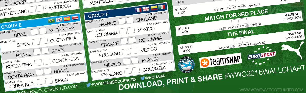 DOWNLOAD, PRINT AND SHARE: WOMEN\'S WORLD CUP 2015 WALLCHART