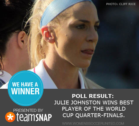 Julie Johnston wins Best Player of the Women's World Cup quarter-finals