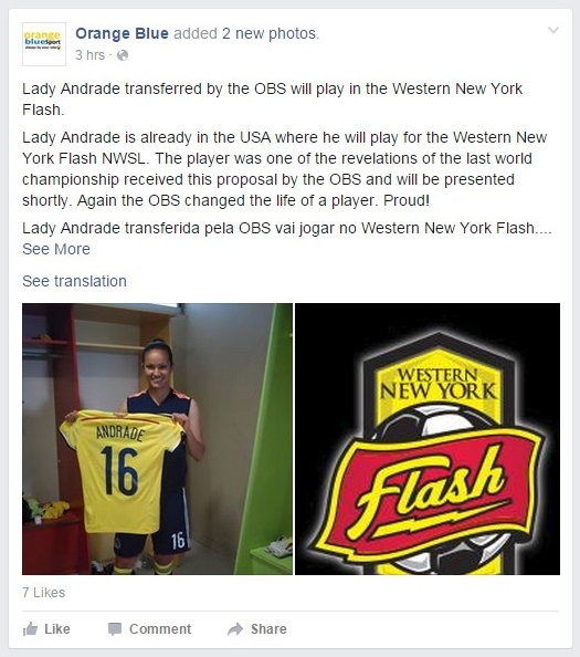 Orange Blue Facebook post about Lady Andrade joining WNY Flash