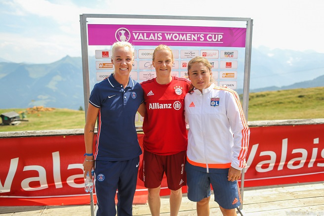 Caroline Seger, Melanie Behringer, Lucie Pingeon at Valais Women's Cup 2015 press conference