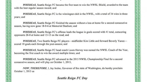 Governor Jay Inslee Declares October 1 Seattle Reign FC Day In Washington State