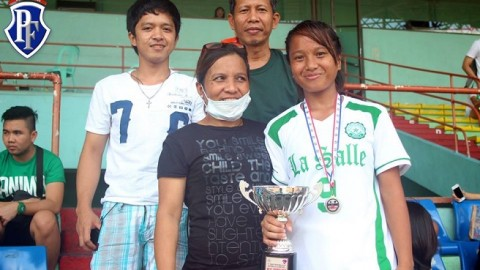 Philippine national team player and DLSU midfielder Irish Navaja shares a special moment with her mother