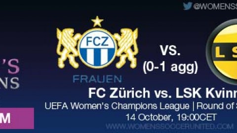 LIVE STREAM: FC Zürich vs. LSK Kvinner (0-1 AGG) | UEFA Women's Champions League, Round of 32, Second leg – 14 October