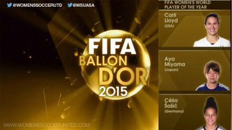 Carli Lloyd, Aya Miyama and Celia Sasic are 2015 FIFA Women's World Player of the Year finalists