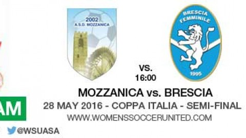 Live stream: Mozzanica v Brescia | Coppa Italia – Semi-final – 28 May 2016
