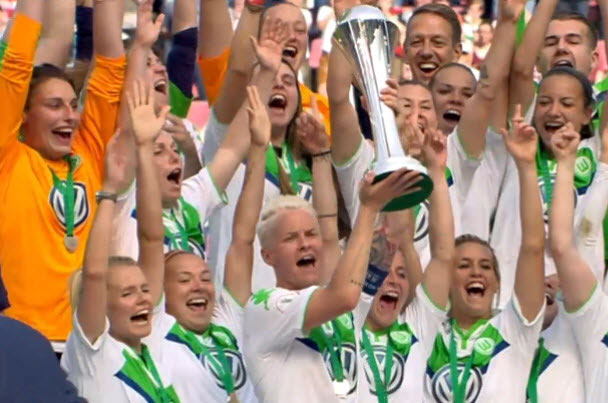 Defending Champions VfL Wolfsburg beat SC Sand 2-1 for third Cup win