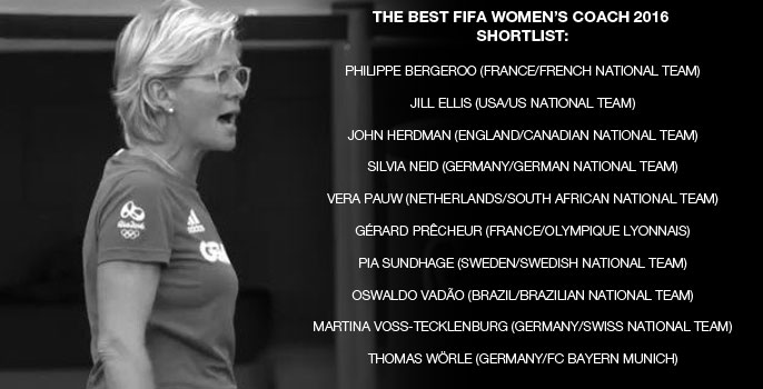 Nominees for The Best FIFA Women's Coach 2016 are announced