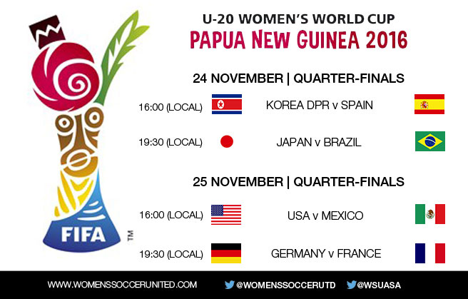 2016 FIFA U-20 Women's World Cup quarter-final fixtures