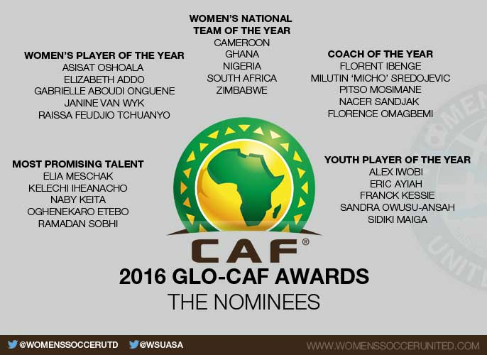 Ghana, South Africa and Nigeria among Women's National Team of the Year nominees for the 2016 Glo-CAF Awards