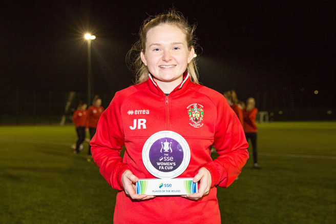 Brighouse Town's Jodie Redgrave wins the SSE Women's FA Cup player of the round