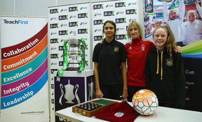 SSE Women's FA Cup fourth round draw with Andrea Bell at Farnborough Academy in Nottingham