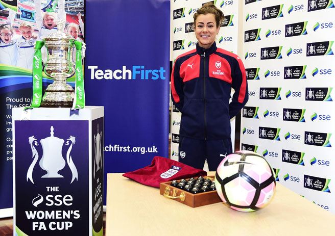 SSE Women's FA Cup fifth round draw with Jemma Rose at Hornsby School in North London