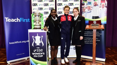 SSE Women's FA Cup fifth round draw with Jemma Rose at Hornsey School in North London
