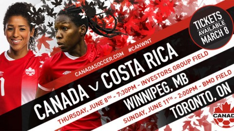 Canada Women's National Team to play Costa Rica in Winnipeg and Toronto