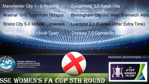 SSE Women's FA Cup 2017 5th Round Match Results