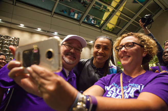 Orlando Pride forward Marta Arrives to Fan Welcome at Orlando International Airport