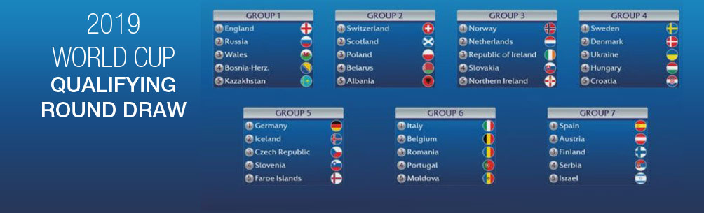 ROAD TO FRANCE: 2019 WORLD CUP QUALIFYING GROUP STAGE DRAW