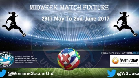 Women's Midweek Football Fixtures 29th May to 2nd June 2017