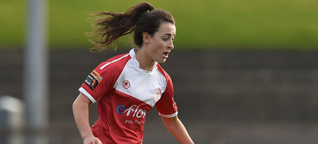 PHOTO: Shelbourne Ladies midfielder Roma McLaughlin in action against UCD Waves.