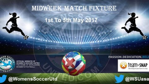Women's Midweek Football Fixtures 1st to 5th May 2017