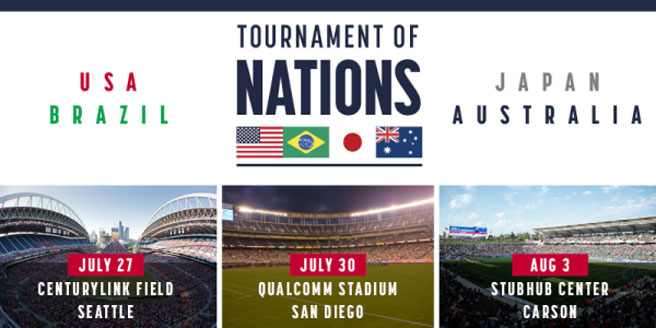 U.S. Soccer to Host Australia, Brazil and Japan for Tournament of Nations in Seattle, San Diego and Los Angeles from July 27-August 3
