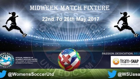 Women's Midweek Football Fixtures 22nd to 26th May 2017