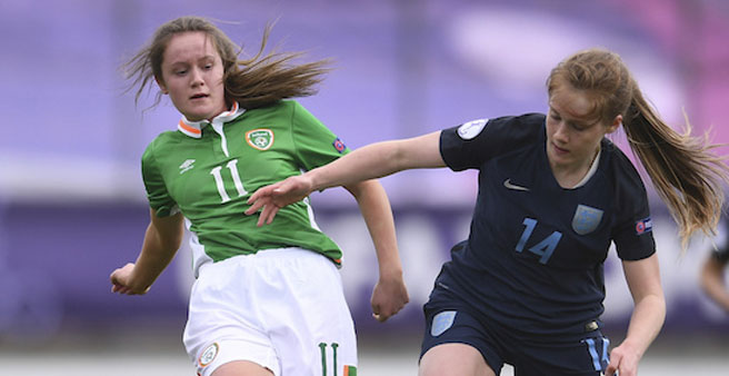 Heather Payne of Republic of Ireland and Amy Rodgers of England during their group B match. Credit: Sportsfile/UEFA.