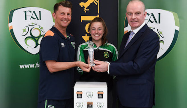 March 'Player of the Month' award was accepted by Eleanor Ryan-Doyle from Peamount United (pictured above with Republic of Ireland WNT Head Coach Colin Bell and Tom Dennigan from Continental)