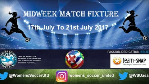 Women's Midweek Football Fixtures 17th to 21st July 2017