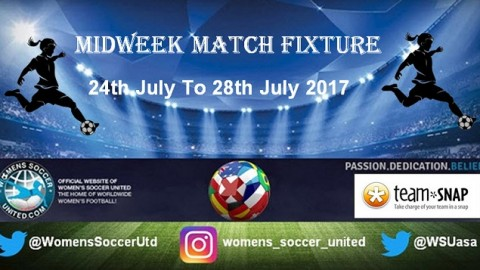 Women's Midweek Football Fixtures 24th to 28th July 2017