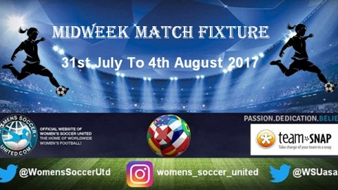 Women's Midweek Football Fixtures 31st July to 4th August 2017