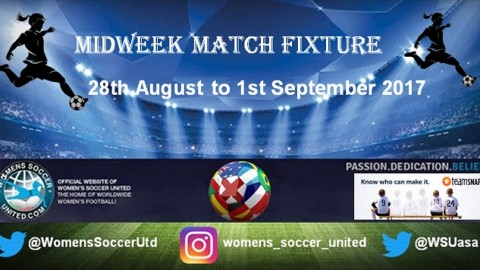 Women's Midweek Football Fixtures 28th August to 1st September 2017