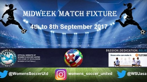 Women's Midweek Football Fixtures 4th to 8th September 2017