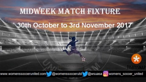 Women's Midweek Football Fixtures 30th October to 3rd November 2017