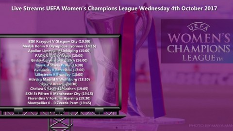 Live Streams UEFA Women's Champions League Wednesday 4th October 2017