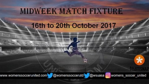 Women's Midweek Football Fixtures 16th to 20th October 2017