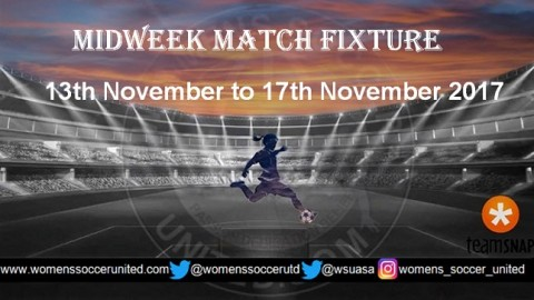 Women's Midweek Football Fixtures 13th November to 17th November 2017