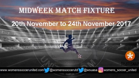 Women's Midweek Football Fixtures 20th November to 24th November 2017