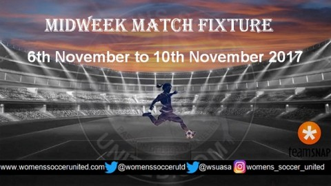 Women's Midweek Football Fixtures 6th November to 10th November 2017