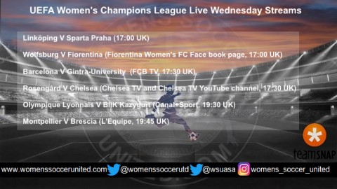 UEFA Women's Champions League Live Wednesday Streams 15th November