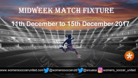 Women's Midweek Football Fixtures 11th December to 15th December 2017