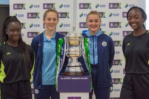 Students at a Cedar Mount Academy received a special visit from two of Man City's stars as they hosted the fourth round draw of the SSE Women's FA Cup