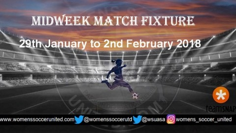 Women's Midweek Football Fixtures 29th January to 2nd February 2018